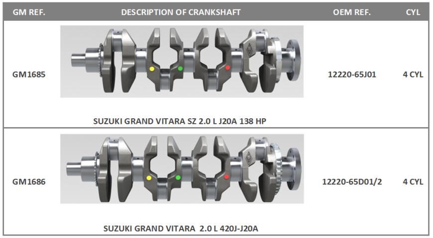 Новые коленвалы на автомобиль SUZUKI GRAND VITARA