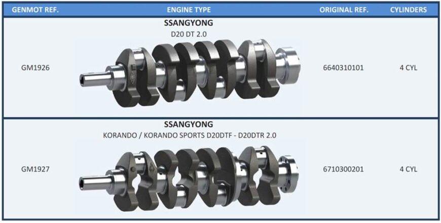 Коленвалы на автомобили SSANG YONG двигатель D20 DT 2.0